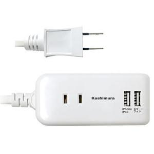 【在庫目安:お取り寄せ】カシムラ  TI-174 2口電源タップ Aタイプ 2USB 2.1A 1m 国内・海外兼用 (ホワイト)
