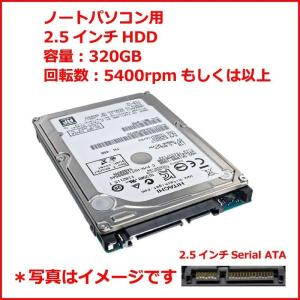 ハードディスク ノートパソコン用 中古品 増設交換用HDD 2.5インチSerial ATA 320GB 5400rpm以上 各メーカー 動作確認済「DM便」