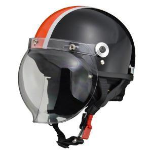 【商品名】 リード工業 (LEAD) バブルシールド付ハーフヘルメット CR760 BK/OR フリ...