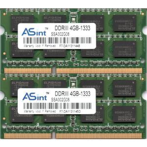 ASint PC3-10600S (DDR3-1333) 4GB x 2枚組み 合計8GB SO-DIMM 204pin ノートパソコン用メモリ 両面実装 (2Rx8)の2枚組 動作保証品【中古】 pc-parts-firm