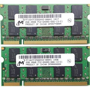 Micron PC2-6400S (DDR2-800) 2GB x 2枚組み 合計4GB SO-DIMM 200pin ノートパソコン用メモリ