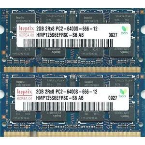 hynix PC2-6400S (DDR2-800) 2GB x 2枚組み 合計4GB SO-DIMM 200pin ノートパソコン用メモリ [HYMP125S6EFR8C-S6 AB]
