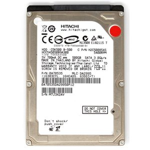 HITACHI 日立 型番:HCC545050B9A300 容量500GB 2.5インチ 5400 rpm 厚さ9.5mm 動作保証品 pc-parts-firm