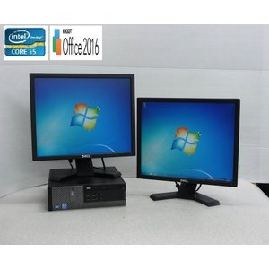 中古パソコン 19型デュアルモニタ/DELL7010SF/Core i5-3470(3.2GHz)/高速DDR3メモリ4GB/HDD250GB/DVDRW/64Bit Windows7Pro/KingsoftOffice2016(y-dm-088-2)