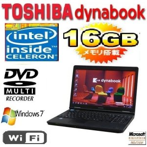 中古パソコン ノ−トパソコン 東芝 dynabook B451 15.6型 LED液晶 CeleronB800 1.5G  爆速メモリ16GB HDD250GB DVDマルチ 無線 Windows7 Pro 64bit na-129-9|pchands