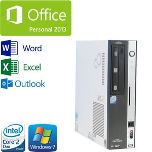 中古パソコン Microsoft Office Personal Premium 富士通 FMV-D550(Core2Duo E8400-3.0GHz)(メモリ2GB)(HDD250GB)(DVDマルチ)(Windows7 Pro)(y-d-004-office)