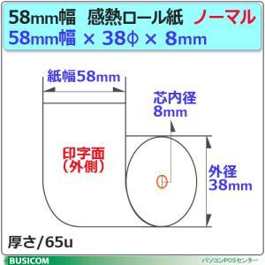 ノーマル58mm×38φ×8コアレス モバイル・クレジット決済端末向け 感熱レジロール 100巻1巻/88円(税抜)  ST583808-100K|pcpos2|02