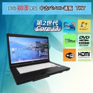 中古 ノートパソコン 中古パソコン 第2世代 Core i3 FUJITSU A561/C/2GB/160GB/DVDマルチ/無線 /Windows7 pctky
