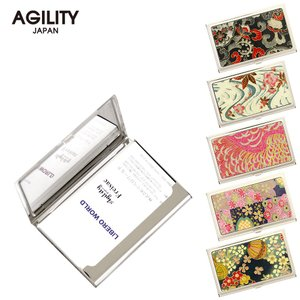 【ネコポス】カードケース 名刺入れ ステンレス 金属 牛革 レザー 和紙 和柄 ビジネス小物 AGILITY affa アジリティアッファ ピアット[M便 3/3]|pdd