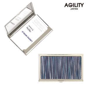 【ネコポス】カードケース 名刺入れ ステンレス 金属 牛革 レザー ビジネス小物 メンズ レディース AGILITY affa アジリティアッファ ピアット[M便 3/3]|pdd
