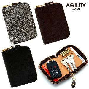 キーケース スマートキー カードキーケース パスケース 一体 免許証 4連 ラウンドファスナー 革 レザー 日本製 AGILITY affa アジリティ アッファ サボン|pdd