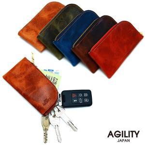 キーケース カード入れ付き ICカード 1枚 L字ファスナー 4連 スマートキー おしゃれ 小さめ スマート 薄い 本革 AGILITY affa アジリティアッファ フィナンシェ|pdd