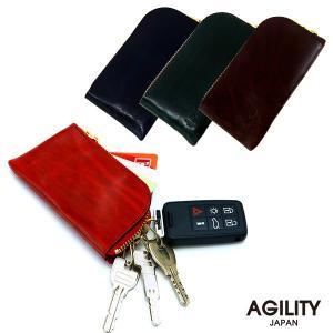 キーケース 4連 L字ファスナー メンズ カードケース 免許証 駐車券 ポケット 牛革 レザー 本革 日本製 AGILITY affa アジリティ アッファ フィナンシェ|pdd