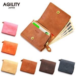 二つ折り財布 フラップ 縦 L字ファスナー コンパクト 小さい 本革 レザー AGILITY affa アジリティアッファ モワティエ|pdd