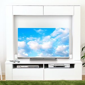 テレビ台150cm ホワイト 50インチ対応 壁面収納型 ハイタイプ 鏡面仕上げ テレビボード TV台 TVボード|peace-and-happiness