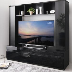 テレビ台169cm 50インチV型対応 ブラック 鏡面仕上げ 壁面収納型(扉付き) ハイタイプ テレビボード TV台 TVボード モデルナ リビンング収納|peace-and-happiness