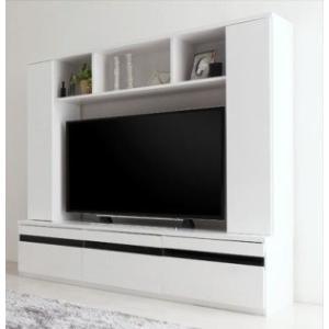 テレビ台169cm 50インチV型対応 ホワイト 鏡面仕上げ 壁面収納型(扉付き) ハイタイプ テレビボード TV台 TVボード モデルナ リビンング収納|peace-and-happiness