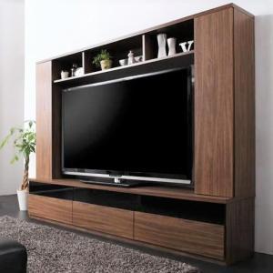 テレビ台200cm ブラウン 60インチV型対応 壁面収納型 ハイタイプ テレビボード TV台 TVボード リビング収納 スリースコア|peace-and-happiness