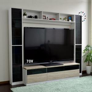 テレビ台 190cm  60インチ対応 壁面収納型 ハイタイプ ブラウン テレビボード TV台 TVボード|peace-and-happiness