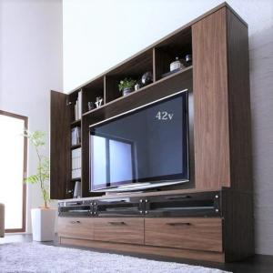 テレビ台169cm ブラウン 50インチV型対応 壁面収納型 ハイタイプ テレビボード TV台 TVボード リビング収納|peace-and-happiness