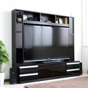 テレビ台180cm ブラック鏡面 60インチ対応 壁面収納型 ハイタイプ 扉付き テレビボード TV台 TVボード|peace-and-happiness