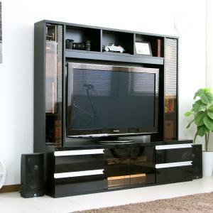 テレビ台150cm ブラック鏡面 50インチ対応 壁面収納型 ハイタイプ 扉付き テレビボード TV台 TVボード|peace-and-happiness