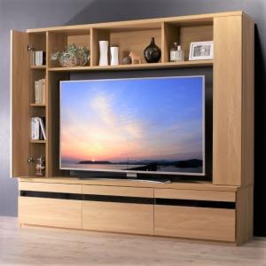 テレビ台 180cm  55インチV型対応 壁面収納型 ハイタイプ オークナチュラル テレビボード TV台 TVボード タイトル|peace-and-happiness