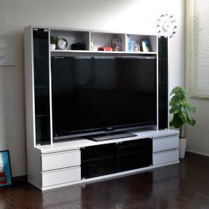 テレビ台180cm ホワイト 60インチ対応 壁面収納型 ハイタイプ 扉付き テレビボード TV台 TVボード|peace-and-happiness