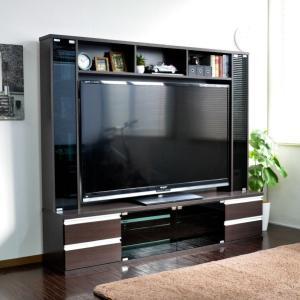 テレビ台180cm ダークブラウン 60インチ対応 壁面収納型 ハイタイプ 扉付き テレビボード TV台 TVボード|peace-and-happiness