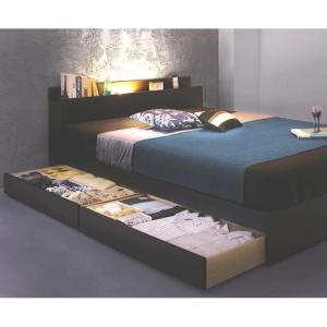 セミダブルベッド 引出し収納・棚・照明・コンセント付 ブラック マットレス付き 収納ベッド ベッド ...