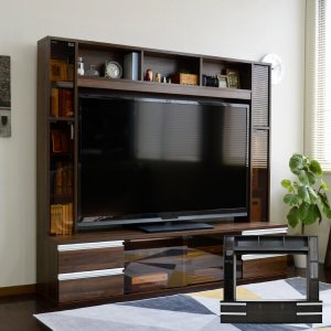 テレビ台180cm 60インチ対応 ブラウン 壁面収納型 ハイタイプ 扉付き テレビボード TV台 TVボード|peace-and-happiness