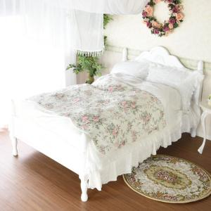 セミダブルベッド アンティークベッド クリームホワイト ベッドフレームのみ 姫系家具 プリンセスベッ...
