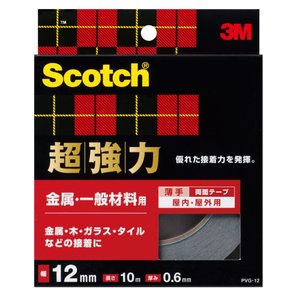 3M スコッチ 超強力両面テープ 金属用・一般材料用 12mmx10m PVG-12|peaces