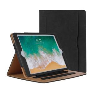 新しい iPad 9.7 2018/2017 ケース(iPad 第6世代 iPad 第5世代) カバーiPad 2017/2018 ケース 高級PUレザー製 オートスリープ機能 カードポケット付き 角度調整|peaces