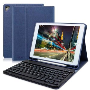 ipad 9.7 キーボードカバー Apple pencil 収納 ペンシルホルダー付き ワイヤレスキーボードケース 手帳型 ビジネスカバー 一体型 (ブルー)|peaces