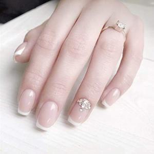 ロマンチックのフランス風ネイルチップ 付け爪 花嫁ネイルパーツ つけ爪 ネイルジュエリー ネイルアート|peaces