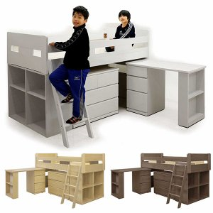 システムベッド システムデスク 学習机 学習デスク ベッド 4点 ハシゴ付き シングルベッド 本棚 ブックシェルフ チェスト デスク 子供部屋 キッズ 木製|peacestore