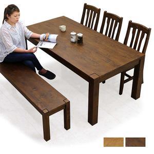 ダイニングテーブルセット 6人掛け 5点 ベンチ 無垢 パイン材 北欧|peacestore