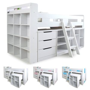 システムベッド ロフトベッド シングル デスク付き 学習机 おしゃれ 木製 階段 子供部屋|peacestore