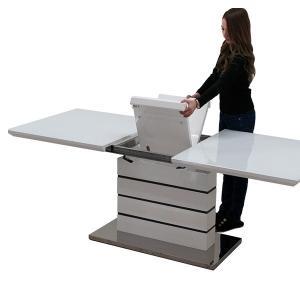 伸長式 ダイニングテーブル ガラステーブル テーブル ダイニング 伸縮 エクステンション 160 200 おしゃれ モダンの写真