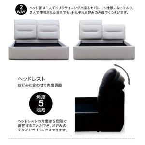 ベッド ダブル ベッドフレームのみ リクライニングヘッド 合皮レザー モダン おしゃれ|peacestore|03