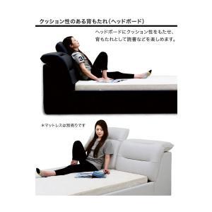 ベッド ダブル ベッドフレームのみ リクライニングヘッド 合皮レザー モダン おしゃれ|peacestore|06