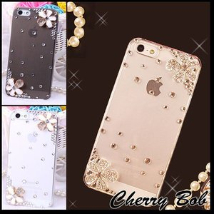 iPhone5/iPhone5s スマホケース 保護デコケース  キラキラ 花モチーフ (2色・2デザイン)|peachy