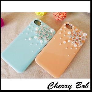 iPhone5/iPhone5s スマホケース 保護デコケース  雪の結晶&パール キラキラ (2色)|peachy