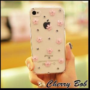 iPhone5/iPhone5s スマホケース 保護デコケース  ランダムフラワー&きらきらストーン (全3色・ケース2色)|peachy