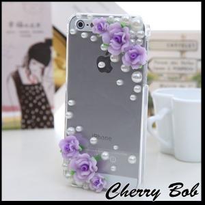 iPhone5/iPhone5s スマホケース 保護デコケース カバー キラキラ 薔薇&パール|peachy