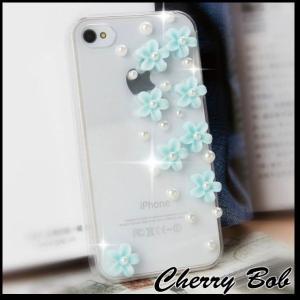 iPhone5/iPhone5s スマホケース 保護デコケース カバー キラキラ 小花&パール|peachy