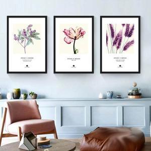 30×40cm アートパネル 3枚セット枠付きフレーム絵画 植物 ボタニカル 紫色 模写 水彩画風 カラフル 抽象画 壁掛け インテリア絵画 ウォールデコ|peachy