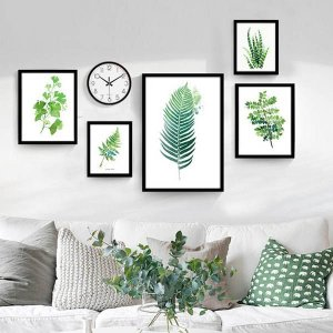 5枚1セット アートパネル 枠付きフレーム絵画 水彩画 観葉植物 リーフ ボタニカル 壁掛け インテリア絵画 ウォールデコ|peachy