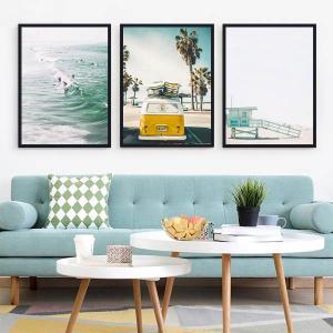 33×43cm アートパネル 3枚セット 枠付きフレーム絵画 サーフィン コースタルスタイル 西海岸  海 壁掛け インテリア絵画 ウォールデコ|peachy